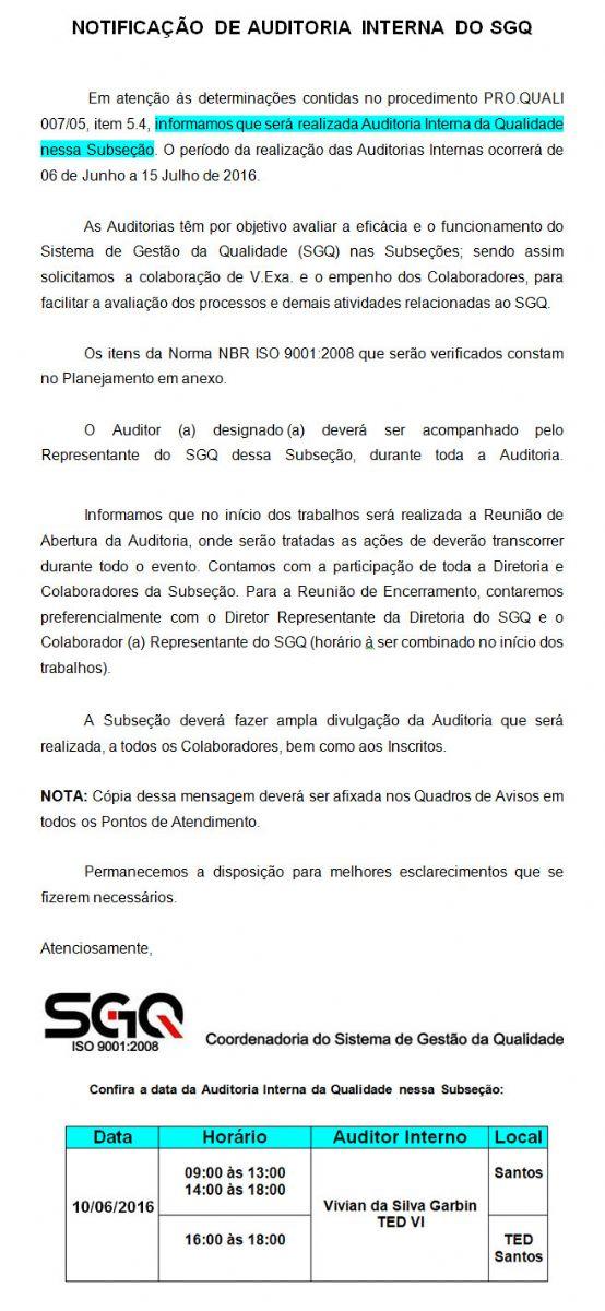 Comunicado Notificação De Auditoria Interna Do Sgq Oab